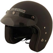 Duchinni D501 Matt Blk Motorcycle Motorbike Open Face Helmet w/ Drop Down Visor