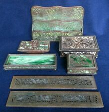"Tiffany Bronze and Glass ""Pine ""Needle"" and ""Grapevine"" Desk Set"