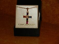 Colorful Cross Cubic Zirconia Brand Necklace by CBC