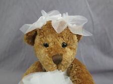 BRIDE TO BE BROWN TEDDY BEAR WEDDING DRESS PLUSH STUFFED ANIMAL FUKEI TOY