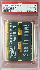 RARE 1954 TOPPS SCOOPS w/coating GARFIELD SHOT #9 PSA 6 highest grade