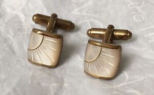 Elegant Fine Vintage Mother of Pearl and Bronze / Gold Cuff Links