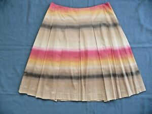 Talbots Collection 6P Skirt Pleated Cotton Spandex Muted Horizontal Stripes 22.5