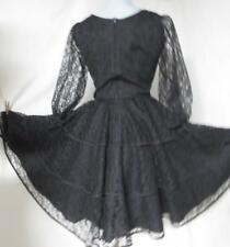 Vtg Square Dance Swing Circle Dress, Tiered Ruffle Black Lace Rockabilly Size 10