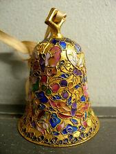 Vintage Asian Cloisonne Enameled Brass Bell Mult-Color Pattern - Butterfly