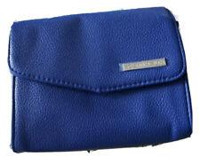 Blue Vegan Leather Case Makeup Bag