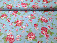"Cath Kidston Ikea ROSALI 100% Cotton Fabric Material *150cm/59"" wide* BLUE ROSE"