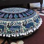 """28"""" Indian Deer Mandala Floor Pillow Cushion Pouf Ottoman Round Pillow Cover Art"""