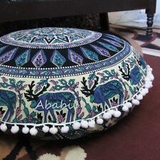 "28"" Indian Deer Mandala Floor Pillow Cushion Pouf Ottoman Round Pillow Cover Art"