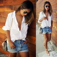 Women's Sexy Loose Cotton Lapel V-Neck Tops Long Sleeve Casual T-Shirt Blouse