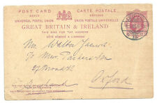 1D EDWARD VII UPU REPLY POST CARD LEIPZIG 1905 CDS BACK TO OXFORD GERMANY