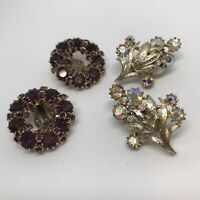 Cora Rhinestone Opalescent Two Pairs Vintage Clip Ons Earrings Brilliant