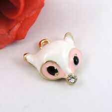 8PCS Vintage Alloy Enamel White Fox Jewelry Charms Pendant 39234