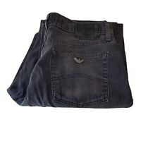 Vintage Armani Mens Jeans 34L Straight Pinstripe 34x33 Washed Black W34 L33 Vtg