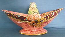 VINTAGE c1930-34 ROYAL Winton Grimwades Art Deco Rosa Lustre FIORI CESTO
