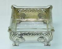 Silberschale Anbietschale mit Glaseinsatz aus 800 Silber KRISCHER Jugendstil
