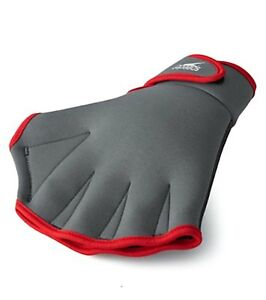 New Speedo Aquatic Fitness Gloves Grey Neoprene Red Size Medium