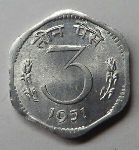 India-Republic 3 Paise 1971(C) Aluminum KM#14.2 UNC