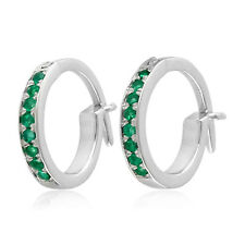 Thanksgiving Day Huggie Earrings Emerald 10k White Gold Jewelry OPS-16976