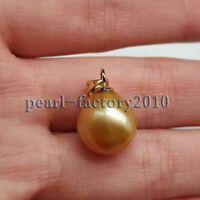 AAA 12-13mm natural golden south sea pearl pendant 14K Yellow Gold