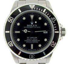 Rolex Sea-Dweller 4000 Mens Stainless Steel Watch Black Dial Bezel 16600