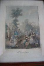 PAIRE GRAVURES LE TAMBOURIN  et  NOCES DE VILLAGE XIXème TOURAY PINX DESCOURLIS