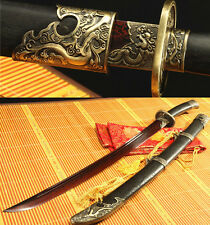 37' FOLDED STEEL RED BLADE ROSE CHINESE DRAGON SWORD QING DAO