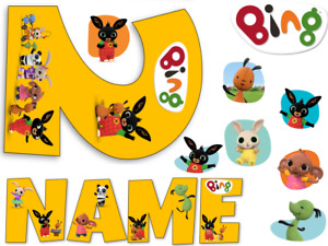 BING INSPIRED NAME AND NUMBER PERSONALISED CAKE EDIBLE ICING TOPPER