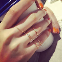 Vogue 5Pcs Stack Crystal Cute Above Knuckle Band Midi Ring Set Gold/Silver