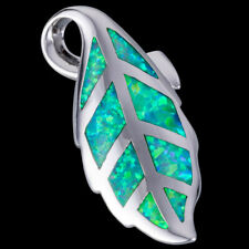 Kiwi Green Fire Opal Leaf Silver Jewellery Pendant for Necklace