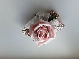 Prom/Wedding soft pink/blush rose Wrist corsage/sparkke/Glitter/Rose Gold