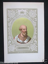 1879 PAPA TEODORO I THEODORUS SAN ANTICA STAMPA CROMOLITOGRAFIA PAPI POPE D247 m