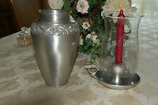 Pewter vase and candle stick holder with glass chimney
