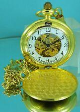Reloj De Bolsillo esqueleto Mecánico De Oro Tono Caballeros Boxx mitad Cazador RRP £ 89.99