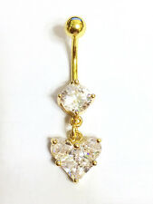 Heart Navel Bar Belly Button Ring Gold Plated CZ Crystal 316L SS -UK SELLER