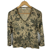Marks & Spencer Womens Top Size 12 Slim Fit Petite Floral Long Sleeve Gorgeous