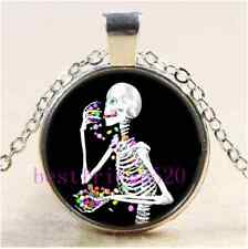 Halloween Skeleton Eating Candy Cabochon Glass Tibet Silver Pendant Necklace