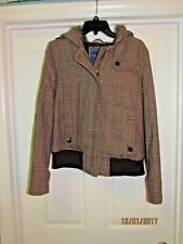 American Eagle Women's Wool Blend Zip Brown Plaid Faux Fur Hood Jacket Coat - XL
