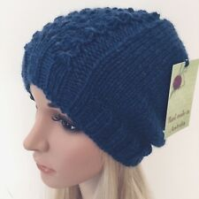 HAND KNITTED LADIES BLUE EUROPEAN WOOL WITH LACE PANEL BEANIE HAT SIZE S - M