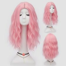 New Fashion Women Curly wavy Lolita Pink Costume Party Cosplay Full Wigs+wig cap
