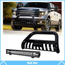 "Carbon Steel Bull Bar Push Bumper Grille Guard + 22"" Work Light For Ford F-150"