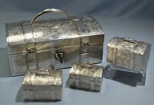 Indo-Chinese Sterling Silver Chest Form Lock Tea Caddy w/Three Inside Boxes