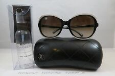Chanel 5320 c.1519/S5 Black on Ivory New Authentic Sunglasses 56/19/135mm w/Case