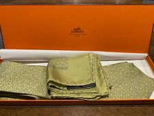 Vintage Mens boxed Green Hermes blue tie and handkerchief set 7902 MA