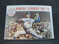 1964 TOPPS '63 World Series GAME #1 SANDY KOUFAX STRIKES OUT 15 CARD#136  VG