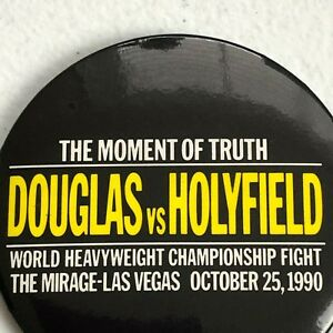 Vintage Boxing Button Pin Holyfield Douglas Fight Las Vegas 1990 Collectible 90s