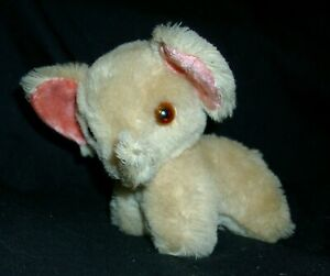 "6"" SMALL TAN / PEACH / CREME PINK EARS STUFFED ANIMAL PLUSH TOY ELEPHANT MOHAIR"