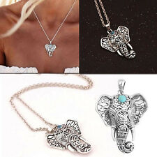 Womens Fashion vintage Silver Elephant BEADE pendant chain choker charm Necklace