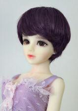"1/6 1/4 bjd 6-7"" doll head violet short wig dollfie yosd Iplehouse lati D28053"