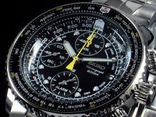 NEW MEN'S BLACK DIAL SEIKO FLIGHTMASTER 200M ALARM CHRONOGRAPH WATCH SNA411P1